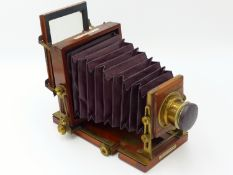 "A J. LANCASTER & SON, BIRMINGHAM, 1/4 PLATE CAMERA ""THE SPECIAL INSTANTOGRAPH"" PATENT, MAHOGANY"