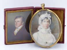 A 19TH MINIATURE PORTRAIT OF A LADY IN WHITE DRESS, MOUNTED IN A GILT PENDANT FRAME TOGETHER WITH