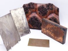 AN EASTERN WOOD AND COPPER PRINTING BLOCK TOGETHER WITH FIVE ENGRAVED COPPER PRINTING PLATES. (6)