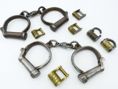 A GROUP OF SIX VARIOUS 19TH CENTURY COMBINATION PADLOCKS TOGETHER WITH TWO PAIRS OF HIATT HANDCUFFS,