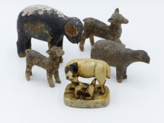 A 19TH CENTURY CARVED AND PAINTED SHEEP WITH LAMB ON PLINTH BASE TOGETHER WITH VARIOUS OTHER