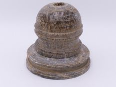 A GREEN / GREY SCHIST STUPA RELIQUARY VESSEL IN TWO PARTS. GANDHARA, 2ND -4TH CENTURY AD. 12.5 CM