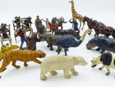 "A LARGE COLLECTION OF VINTAGE DIE CAST FARM AND WILD ANIMALS, THREE HUMEROUS CAT FIGURES, ""COWBOYS &"