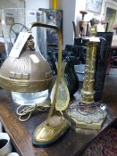 A CONTINENTAL ARTS MOVEMENT GILT BRASS DESK LAMP AND A LATE VICTORIAN BRASS TABLE LAMP
