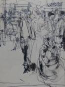 (ARR) WILLIAM DRING, MARKET SCENE, INK, 20.5 X 16CM