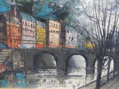 (ARR) 20TH CENTURY SCHOOL, VIEW OF A RIVER AND TOWN IN ITALY, OIL ON CANVAS, 38.5 X 79.5CM