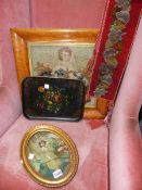 A REGENCY OVAL SILKWORK PICTURE OF A COUNTRY GIRL, A MAPLE FRAMED NEEDLEWORK PANEL, BELL PULL, ETC.