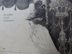 "(ARR) AUBREY BEARDSLEY, PROOF ILLUSTRATION BOOKPLATE ""EX LIBRIS OLIVE CONSTANCE"", 7.5 X 9."