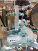 TWO INTERESTING GLASS SCULPTURE BEING WORKING MODELS OF CLAMPS AND VICE