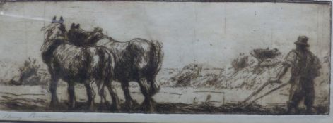 (ARR) HARRY BECKER, LABOURER AND HORSES PLOUGHING, SIGNED IN PENCIL, ETCHING, 10 X 30CM