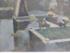 (ARR) MICHAEL UPTON, LIBRARY (HACKNEY UNEMPLOYED), OIL ON BOARD, 17 X 30.5CM