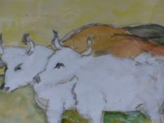 (ARR) HEINRICH GOTTLIEB, TWO OXEN, WATERCOLOUR, 24 X 32.5CM TOGETHER WITH A PORTRAIT OF A LADY (2)