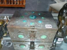 A COPPER ARTS AND CRAFTS COFFER. WITH REPOUSSE DECORATION AND MOUNTED WITH RUSKIN TYPE POTTERY
