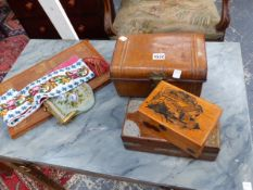 A VINTAGE BEADWORK BELL PULL, A PURSE, A MINIATURE TOLE TRUNK, VARIOUS BOXES ETC