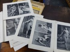 SMALL GROUP OF 19TH/20TH CENTURY RISQUE LITERATURE AND EPHEMERA TO INCLUDE A SERIES OF NUDE PHOTOS.