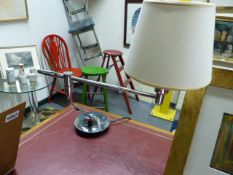 A PAIR OF CHROME ADJUSTABLE DESK LAMPS