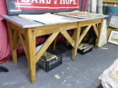 A LARGE 19TH.C.PINE DAIRY TABLE WITH A LATER ZINC WRAPPED TOP
