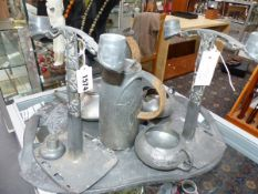 AN ARCHIBALD KNOX DESIGN THREE PIECE PEWTER TEA SET AND JUG, WITH SIMILAR TRAY. TOGETHER WITH A PAIR