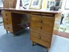 A 1960'S OFFICE DESK WITH LEATHER INSET TOP