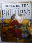ENAMEL SIGN: THERE'S NO TEA LIKE PHILLIP'S