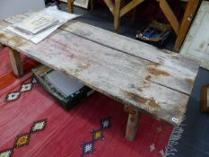 A RUSTIC LARGE COFFEE TABLE