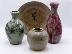A EWENNY POTTERY VASE, AN ORIENTAL GINGER JAR AND PLATE AND A FURTHER ART POTTERY VASE