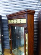 A 19TH.C.MAHOGANY CABINET WITH REVERSE GLASS PAINTED DECORATION AND MIRROR BACK