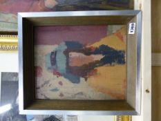 WILLIAM D.L. TUDOR (BRITISH 20TH CENTURY SCHOOL) THE BLUE HAT. SIGNED. OIL ON BOARD AND THREE OTHER
