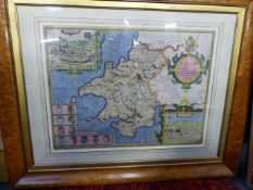 TWO 17TH.C.HAND COLOURED MAPS BY JOHN SPEED, MERIONETHSHIRE AND PEMBROKESHIRE IN MAPLE FRAM