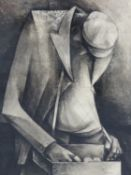 (ARR) MAURICE SUMRAY, THE BEGGAR, 1950, PEN AND INK, 45 X 31.5CM