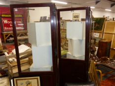 A LARGE 19TH.C.MAHOGANY FOUR FOLD SCREEN WITH GLAZED PANELS