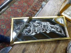 A SIGNED JOHN HUTTON ACID ETCHED MIRROR, CIRCA 1950'S