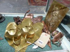 FOUR BRASS AND COPPER ARTS AND CRAFTS HANGING WALL SCONCES, OF LEAF FORM AND AN OWL DECORATED