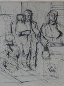 (ARR) ROBERT MEDLEY, SKETCH FOR BUTCHER'S SHOP, SIGNED AND DATED '37, PEN AND INK, 31.5 X 24CM