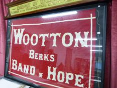 A LARGE FRAMED FLAG, WOOTTON BAND OF HOPE