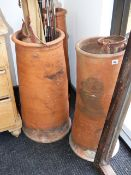 THREE VINTAGE LARGE CHIMNEY POTS. WITH INCISED DECORATION AND SOME WITH POTTERY NAME. HEIGHT OF