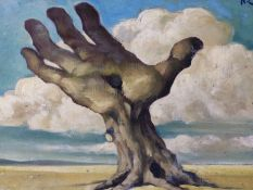 (ARR) R. COLOT, SURREALIST LAND TREE, SIGNED, OIL ON BOARD, 30 X 40CM