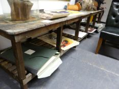 A LARGE RUSTIC PINE TWO TIER WORKSHOP TABLE