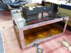 A ROSEWOOD AND CHROME COFFEE TABLE BY MERROWS ASSOCIATES 83 X 86 CM
