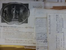 A GROUP OF 19TH.C. VELLUM INDENTURE TOGETHER WITH A QUANTITY OF PRINTED AUCTION POSTERS AND OTHERS.