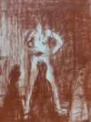 (ARR) ANSEL KRUT, PEEP SHOW 1986, RED CHALK, 15.5 X 12CM