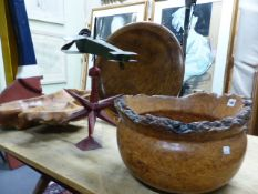 TWO TURNED AND CARVED BURRWOOD BOWLS AND A LARGE SHALLOW TRAY