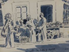 (ARR) ADRIAN DAINTREY, THE SELLER OF GARLICK, PEN, INK AND WASH, SIGNED AND DATED 1991, 21 X 29.5CM