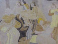 (ARR) EDITH GRAINGER-TAYLOR, YELLOW FIGURES 1936, WATERCOLOUR, 28 X 38.5CM