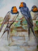 ENGLISH SCHOOL, THREE SWALLOWS IN AN IVY CLAD WALL, INDISTINCTLY INSCRIBED AND INITIALLED M.B.,