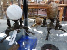 """TWO """"GRAND TOUR"""" BRONZE TRIFID FOOTED STANDS. EACH WITH A SPECIMEN HARDSTONE ORB AND A LIZARD"""