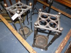TWO SIMILAR VICTORIAN IRON STICK STANDS