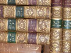 A COLLECTION OF VARIOUS LEATHER BINDINGS TO INCLUDE, PENNY ENCYCLOPEDIA, BEAUTIES OF ENGLAND AND