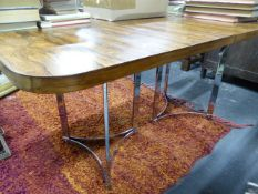 A ROSEWOOD TOPPED CHROME FRAME EXTENDING DINING TABLE BY MERROWS ASSOCIATES 250 X 91 EXTENDED