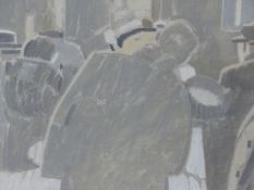 (ARR) MICHAEL UPTON, THE RAILWAY STATION (THE KISS), OIL ON BOARD, 18 X 28CM